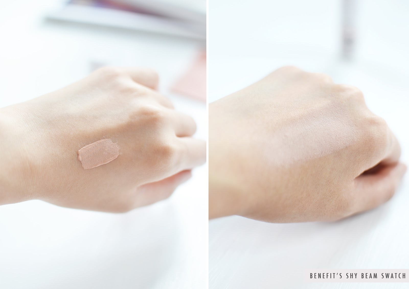 swatch of Benefit's shy beam highlighter