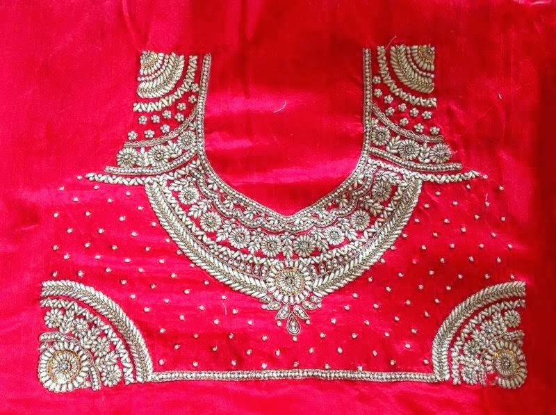 Sparkling Fashion Blouse Back Neck Designssstone Work On Blouse