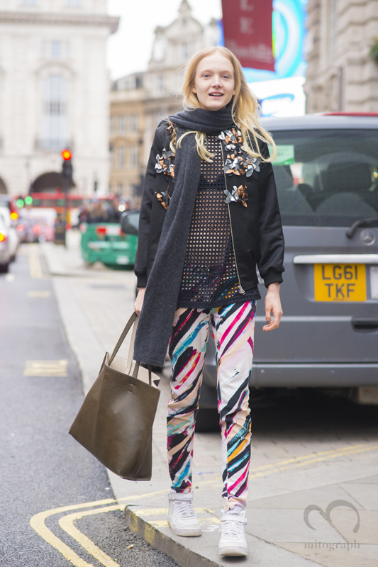 Model Maja Salamon leaves Matthew Williamson 2015-2016 Fall Winter show during London Fashion Week LFW