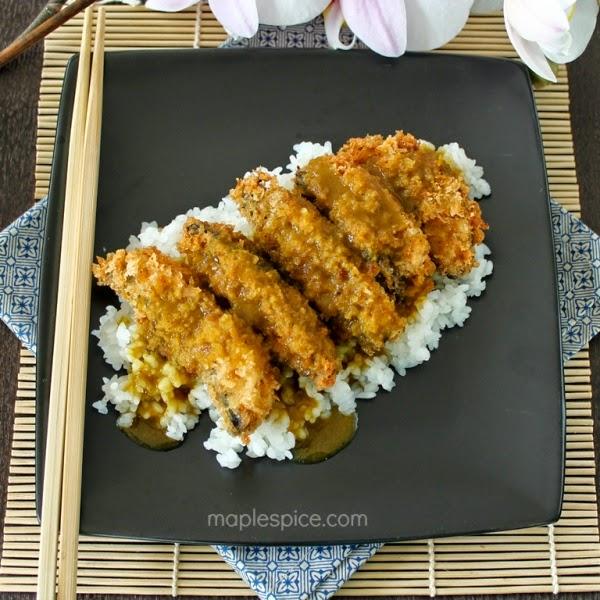 Portobello Mushroom Katsu Curry with Japanese Rice - Vegan.