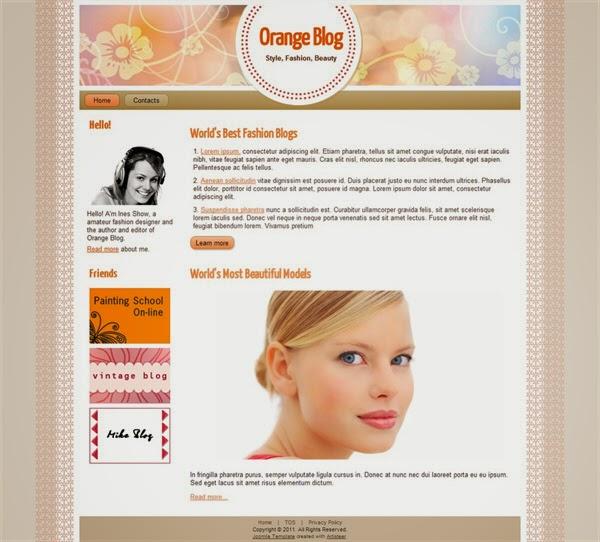 Orange Fashion - Free Joomla! Template