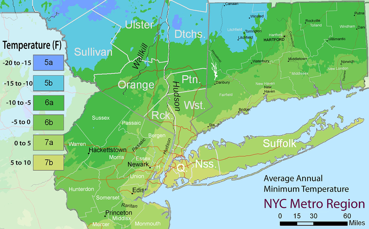 NYC Metro Region Plant Hardiness Zone Map