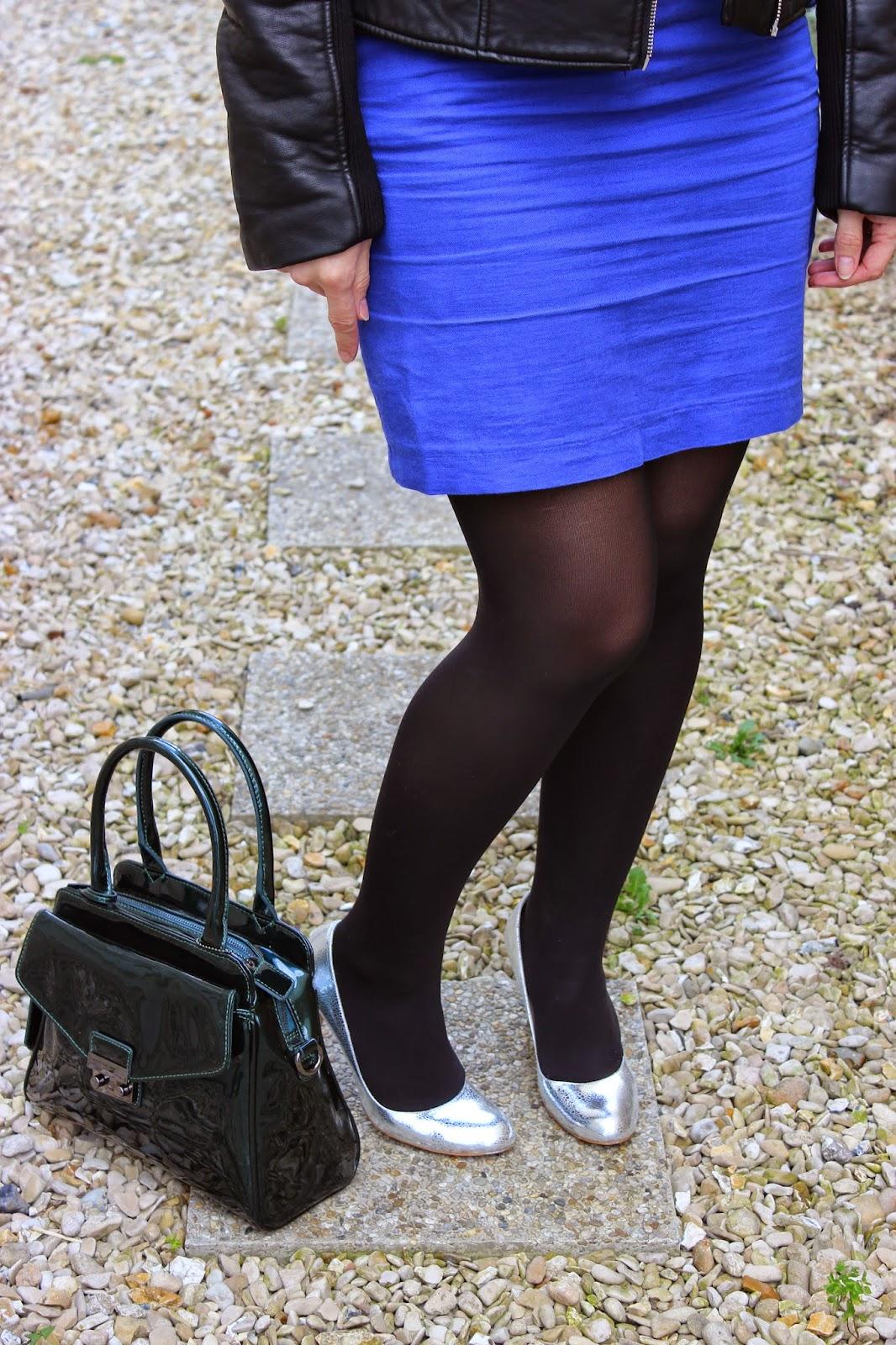 perfecto zara, sac clarks vernis, escarpins argentés minelli, capeline noire