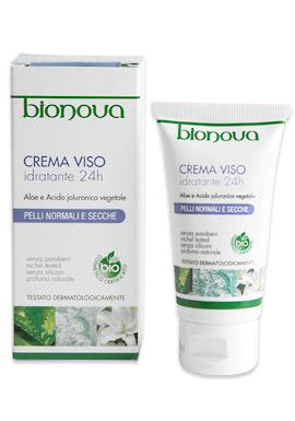 Bionova - Crema viso idratante 24 ore all'aloe vera e acido ialuronico