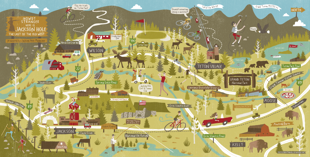 Draw Maps: Summer and Winter Maps for Jackson Hole Magazine
