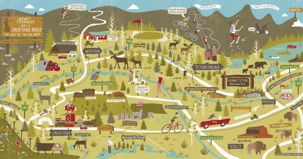 I Draw Maps: Summer and Winter Maps for Jackson Hole Magazine