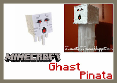 Minecraft Ghast Piñata Tutorial by Domestic Femme #Pinata #DIY #Character #Instruction #Instructions #Instuctable #Instructables #Tutorials #White #Red #Black #Ghost #Party #Parties #Birthday #Birthdays #Squidoo