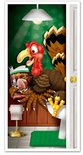 Turkey Restroom Door Cover - Funny Party Decorations