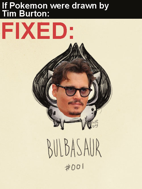 bulbasaur with johnny depp face