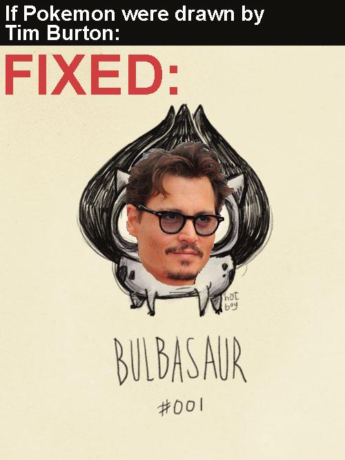bulbasaur with johnny depp face