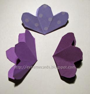 three flower pop up card flattened flowers