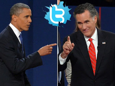 Obama and Romney at the presidential debate with a twitter logo