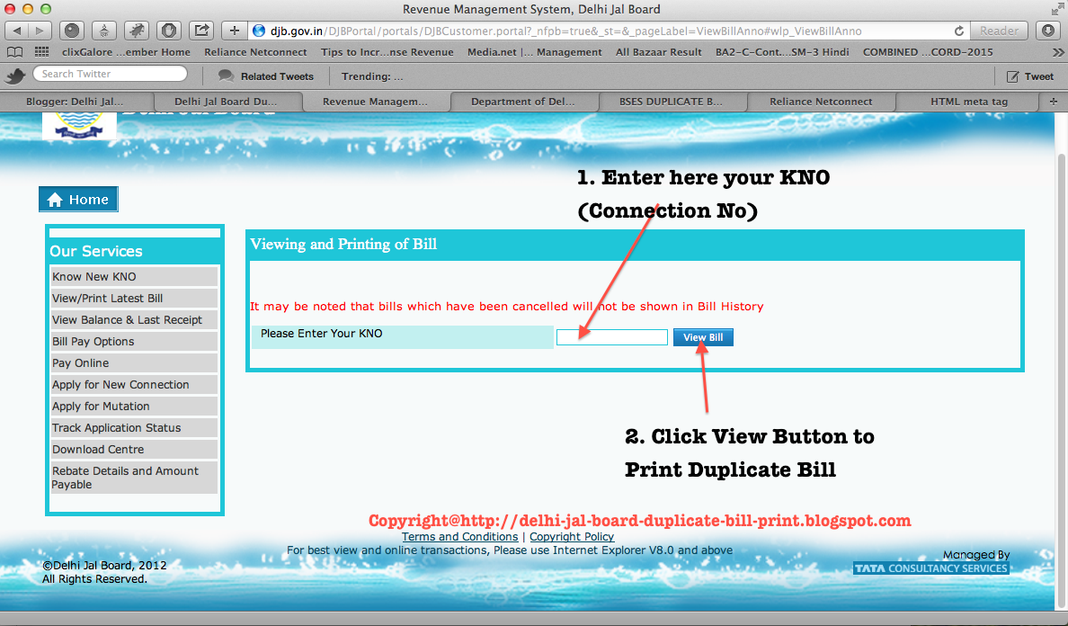 Steps To View Your Duplicate Bill Of Delhi Jal Board Is Explained In Screenshots