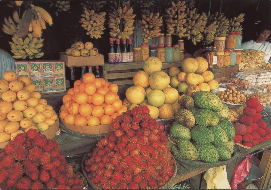 fruit displayed on a market stall