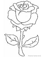 Mewarnai Gambar Sekuntum Bunga Mawar Merah