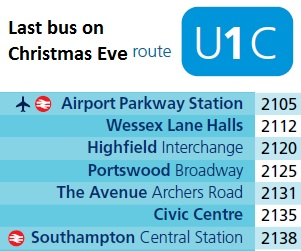 Southampton Bus Update Christmas Eve Bus Services