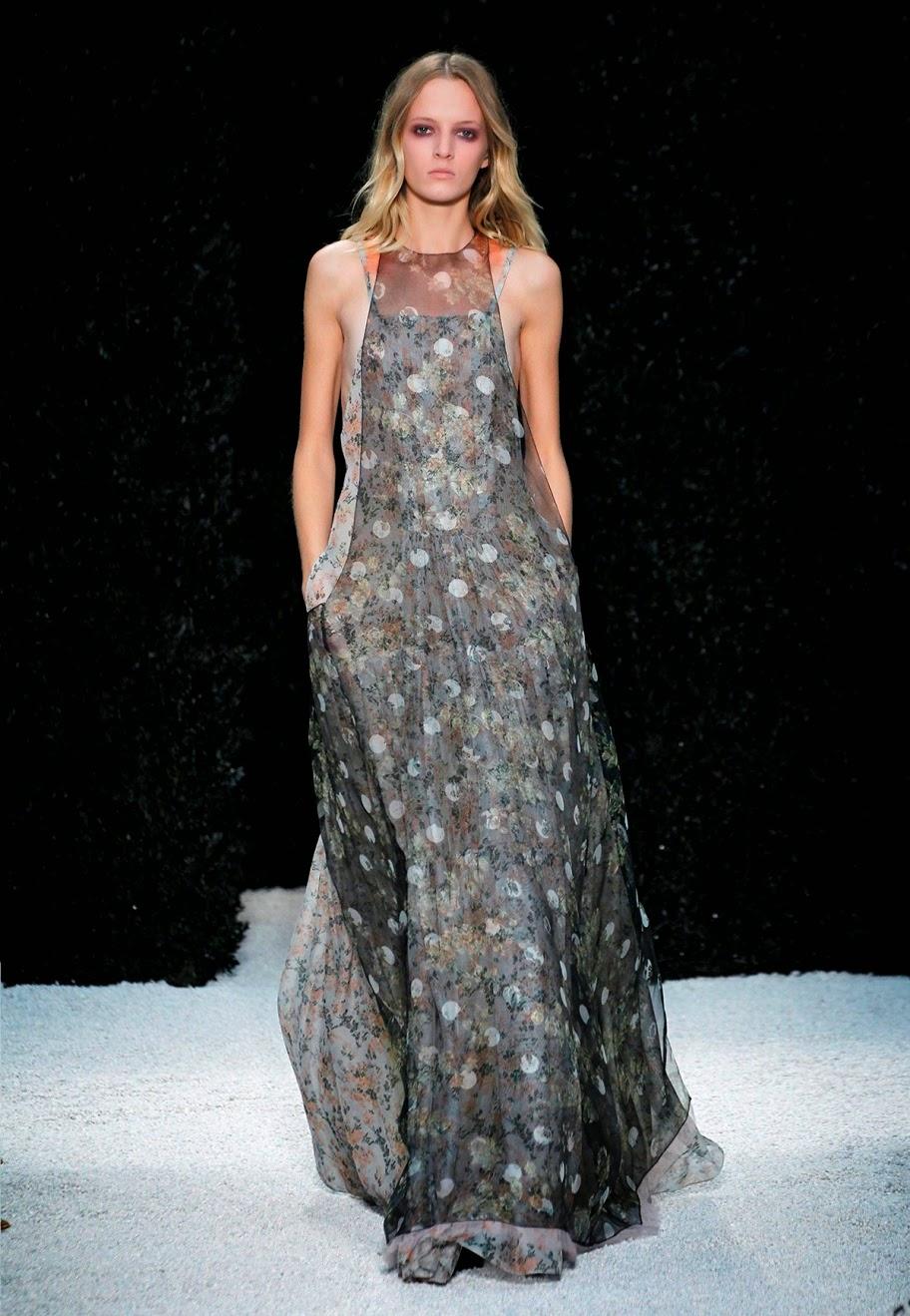 blush floral print silk gauze bib neck apron gown