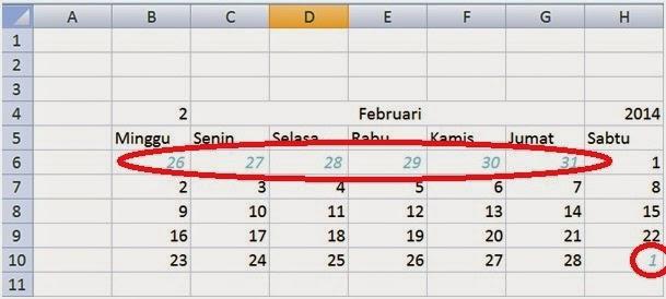 menghias tanggal kalender bulan sebelum dan sesudahnya.