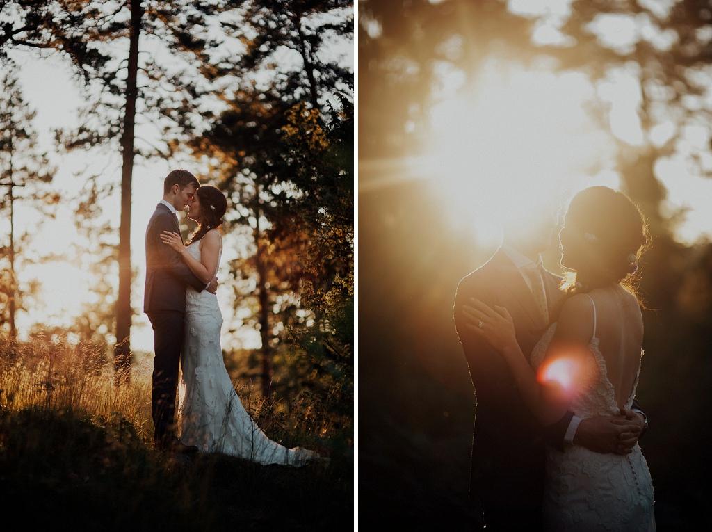 Bröllopsfotografering i solnedgång och motljus