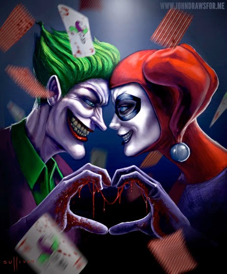 Joker and harley quinn bloody heart
