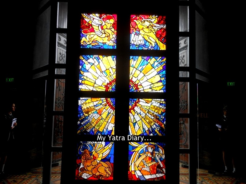 The multi-hued door inside St. Paul's church cathedral in Melbourne, Australia