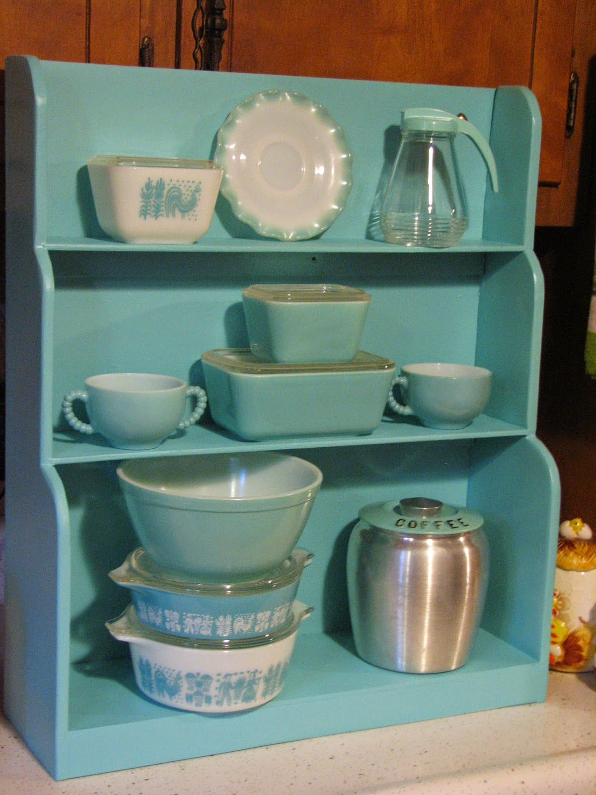 Valspar Color Radiance Spray Paint Part - 26: As Much As I Love This Color, Turquoise On Turquoise Like This Doesnu0027t  Exactly Make The Display Pieces Pop. When I Get This Shelf Secured To The  Wall, ...