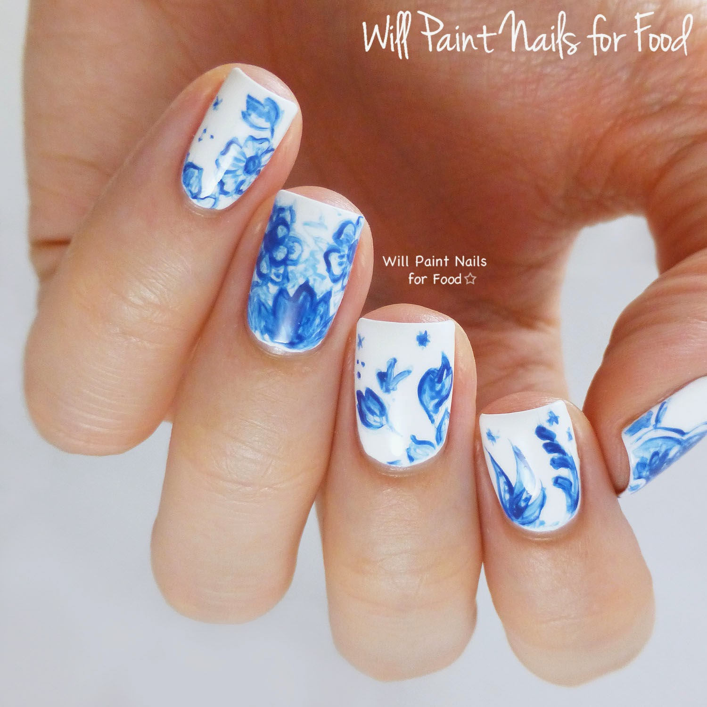 Vintage Delftware nail art