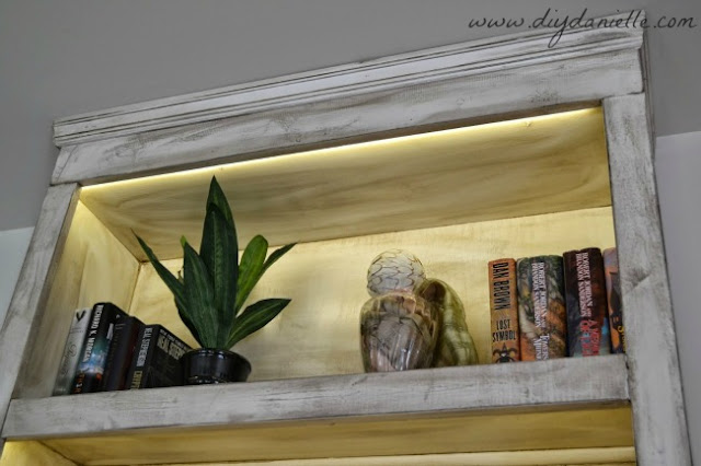View of under cabinet lighting and trim on built in bookshelves.