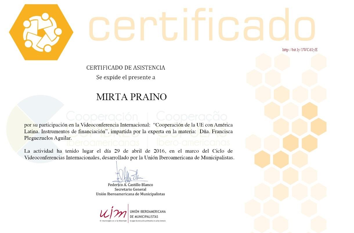 """Participamos Videoconferencia """"Cooperación de la UE con América Latina.Instrumento de financiación"""""""