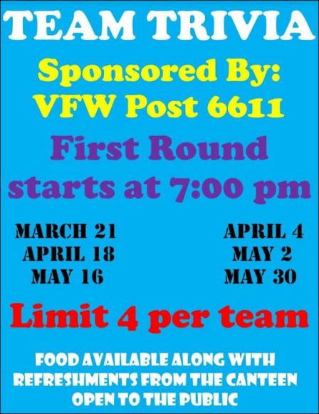3-21 Team Trivia Galeton VFW