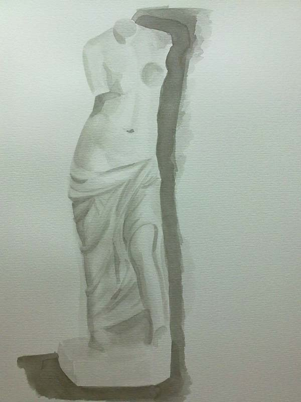 venus de escayola con tinta china