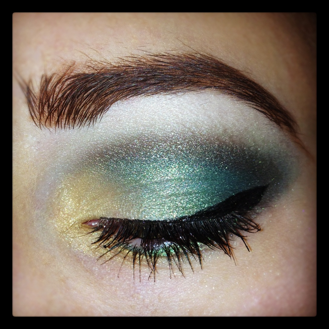 Enchanted Makeup Green And Gold Eyes