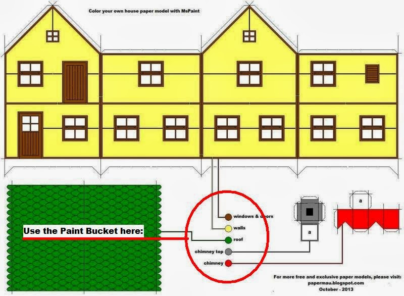 Papermau Color Your Own House Paper Model With Mspaint