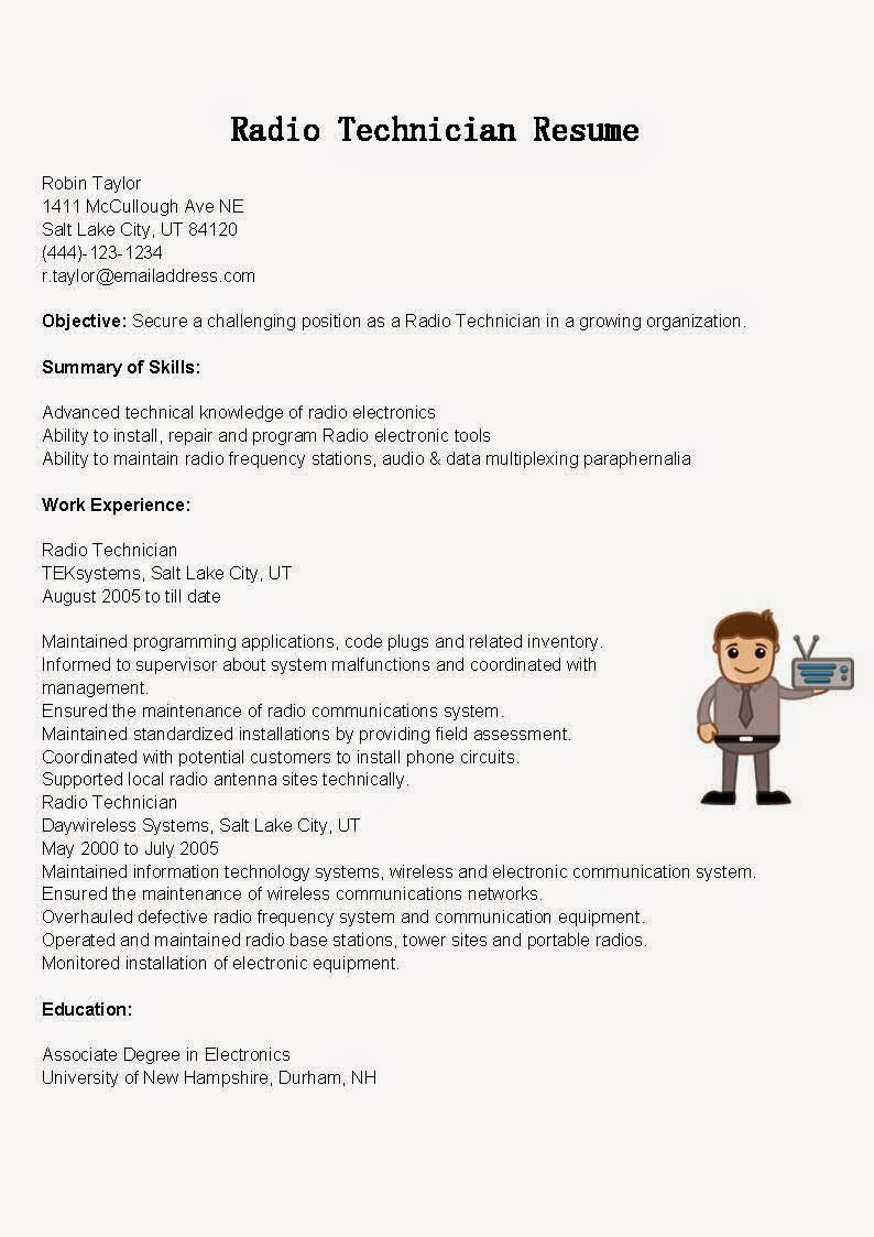 Sample Resume For Electronics Technician Computer Technician Sample Resume  Cover Letter Services Computer Technician Sample Resume  Computer Technician Resume