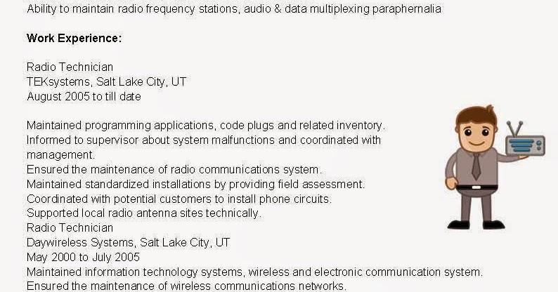 resume samples  radio technician resume sample