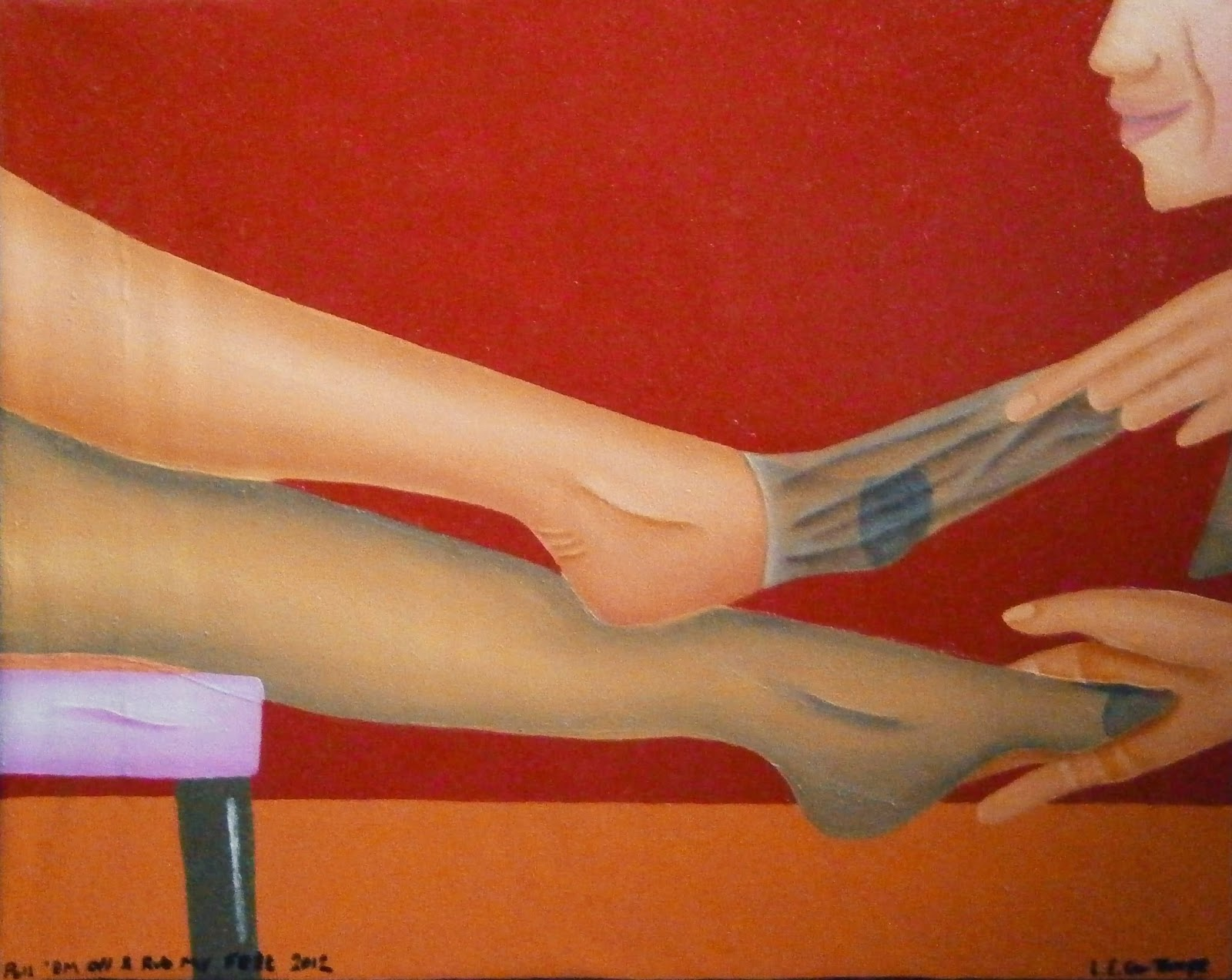 A man pulling off a women's stockings