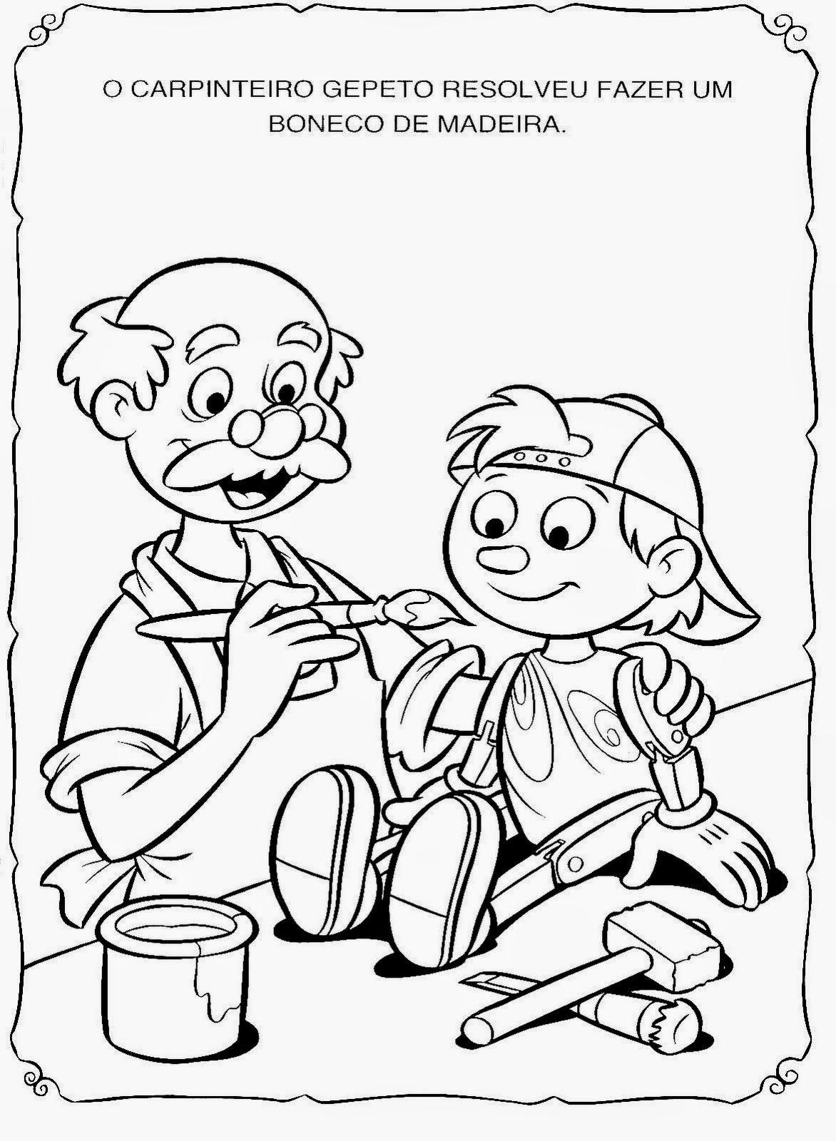 companheiros da educação pinóquio para ler e pintar pronto para