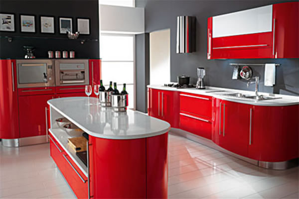 Modern Red Kitchen Cabinets Design