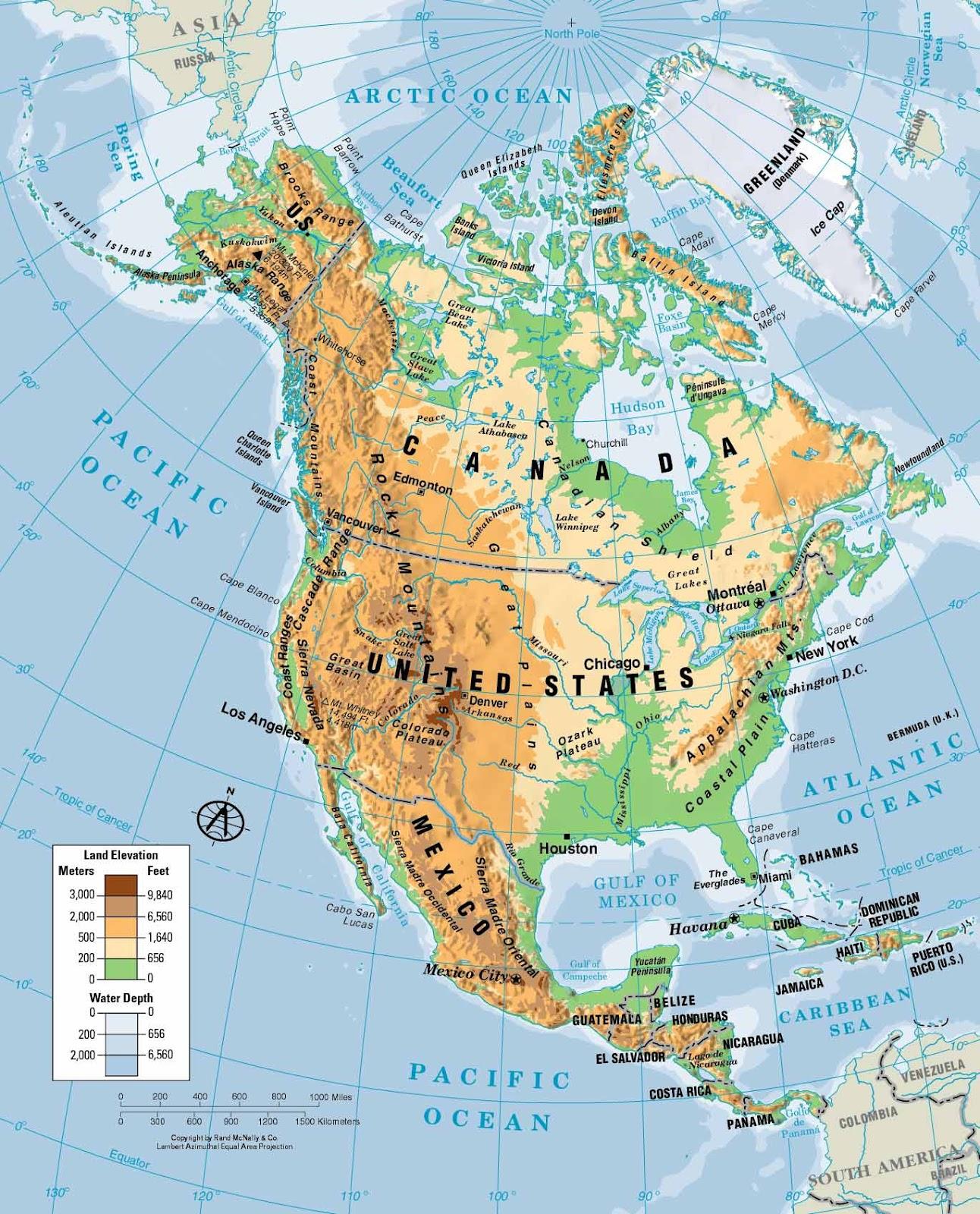 Map  America Del Norte Mapa Fisico
