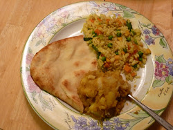 Vegetable Rice, Potato Curry, and Naan