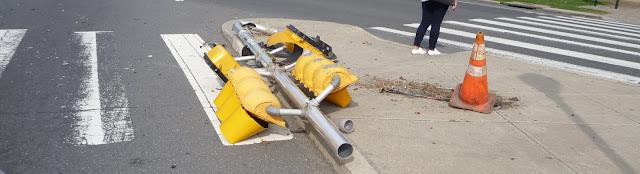 toppled traffic light