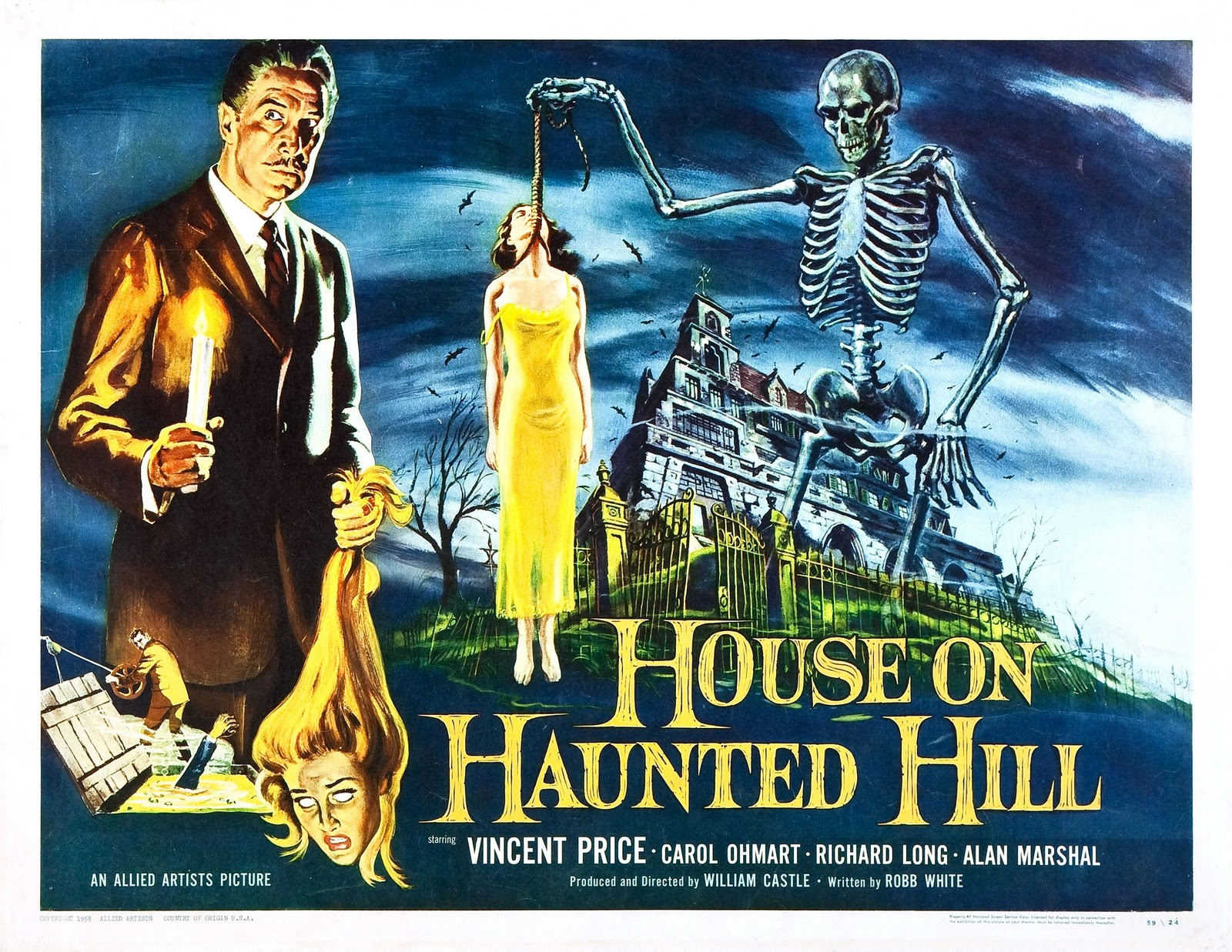 The corner of terror house on haunted hill 1959 for Classic haunted house movies