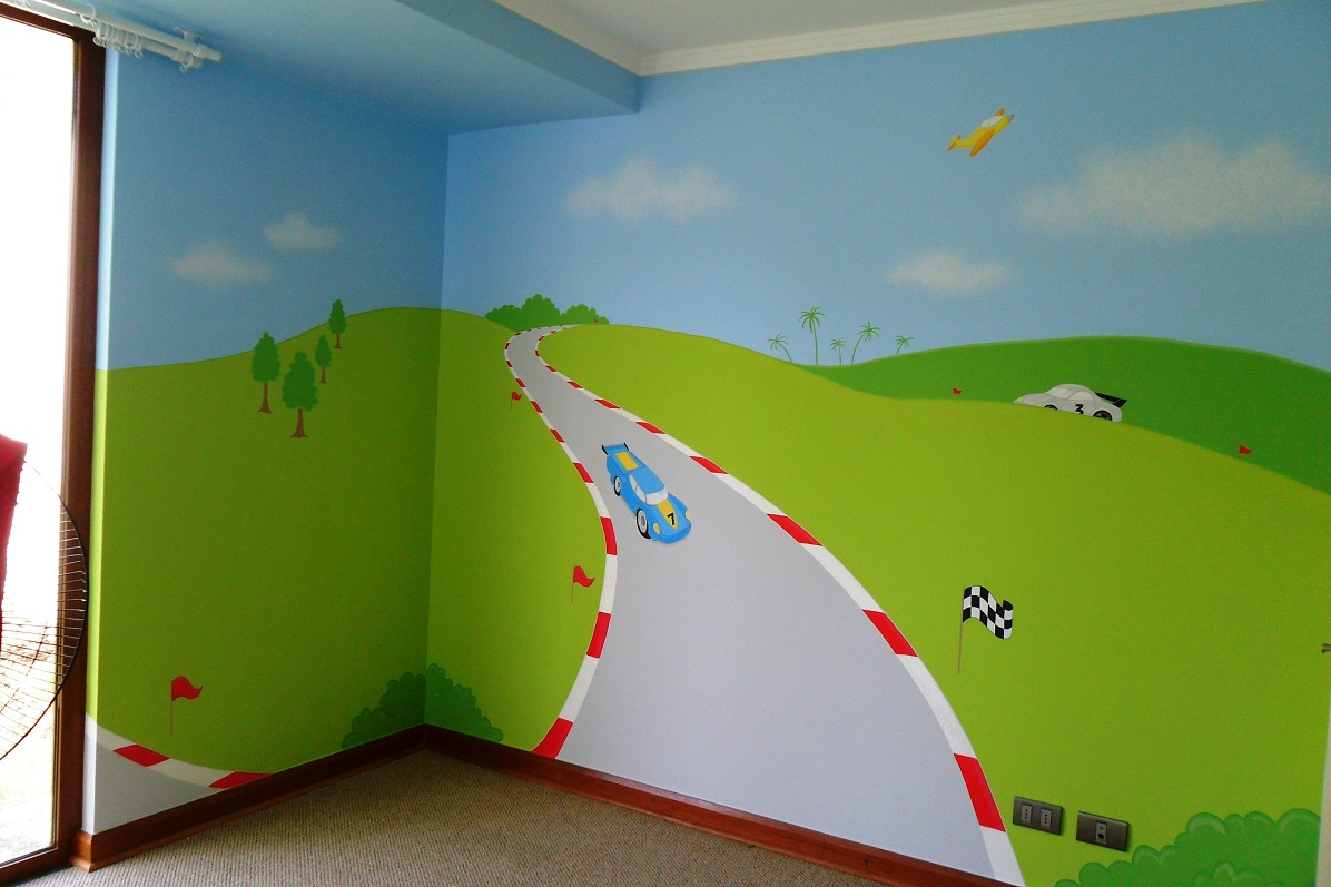 Murales infantiles mural infantil auto de carrera for Como decorar un mural