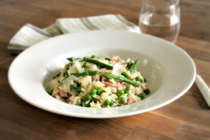 Asparagus, Pea and Bacon Risotto