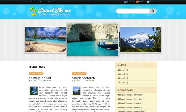 Blogger Jquery Beach Blue Travel Template