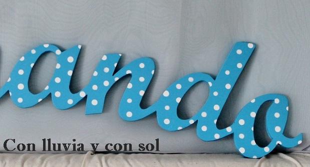 Con lluvia y con sol letras decorativas infantiles de madera - Letras decorativas pared ...