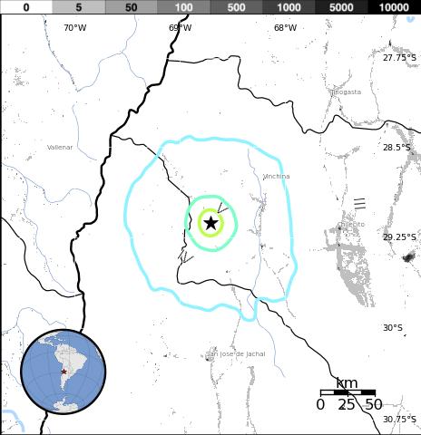 Epicentro sismo La Rioja, Argentina, 27 de marzo 2014