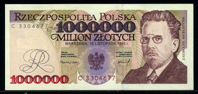 Poland banknotes złoty Polish money million zlotych