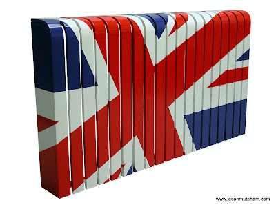 A radiator cover with a painted Union Jack Flag.