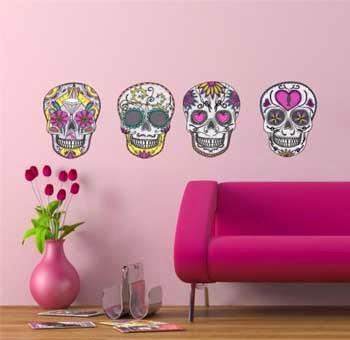 Wall stickers of skulls Mexican hippie style